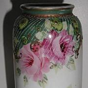 REDUCED Stunning Unmarked Hand Painted Pink Rose Pedestal  Vase Gold Scrolling Ample Diagonal