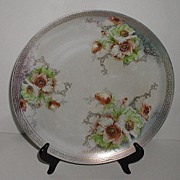 Stunning Hand Painted Carlsbad Austria Poppy Charger Mint Green & Beige Gold Scrolls Greek Key Rim