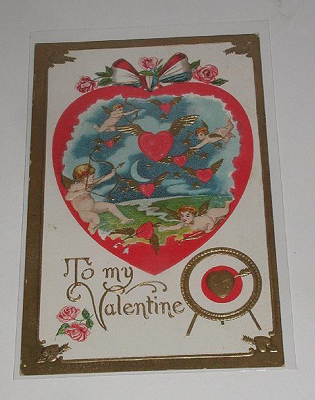 Absolutely Charming Early 1900s Valentine Day Postcard Embossed Cherubs Cupids Shooting Arrows Through Winged Hearts Heavy Gold