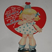 Vintage Mechanical Dunce Cap Eyes Open Or Closed Valentine's Day Card