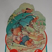 Vintage Picnicking Bears Honeycombed Umbrella Valentine's Day Greeting Card Freestanding
