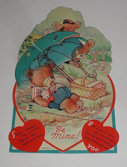 Vintage Picnicking Bears Honeycombed Umbrella Valentine's Day Greeting Card Freestanding