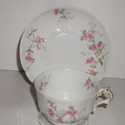 Stunning Gerard Dufraisseix & Abbot  GDA French Limoges Pink Floral Cup & Saucer Heavily Embos