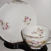 Lovely Furstenburg Brunswick Germany Porcelain Cup & Saucer Pink Purple White Flowers Embossed