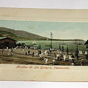 Vintage Early 1900s Real Photo Postcard Muelles De La Guayra Venezuela Postally Unused No Writing