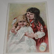 Victorian 1890 Clark's O.N.T. Spool Cotton Trade Card The First Lesson Two Sisters