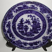 """Podmore Walker & Co. Staffordshire England Flow Blue 9.75"""" Plate The Temple 1849-1859"""
