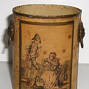Old French Miniature Toleware Tin Pail Lion Handles Soldier & Street Vendor Portrait Artist Signed