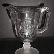 1880 EAPG Actress Pattern Creamer Pitcher Cameo Bust Fanny Davenport & Miss Neilson Frosted Base