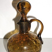 Old Petite 1800s Blown Glass Dark Amber Cruet Matching Stopper Thumbprint Applied Handle