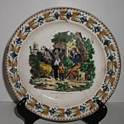 Very Old 1829 L. L. & T. French Faience MM. Lebeuf & Thibaut Montereau Polychrome Plate