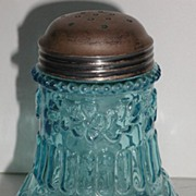 Exquisite Victorian 1800s Blue Embossed Flower Mold Sugar Shaker EAPG
