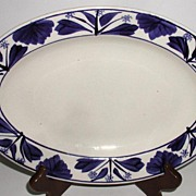 Petrus Regout Maastricht Holland Hand Painted Cobalt Floral Oval Platter
