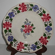 1800 Staffordshire Soft Paste Hand Painted Red & Blue Floral Plate
