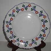 W. Adams & Sons Hand Painted Soft Paste Stick Decorated Plate Embossed Beading Scrolls Scalloped Red Blue Yellow Green
