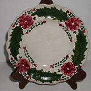 "Early Staffordshire Creamware 7 5/8"" Plate Hand Painted Red Flowers Green Leaves Beading"