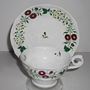 Old 1800s Staffordshire Cup & Saucer Hand Painted Red Daisies Yellow Buttercups Green Leaves .