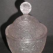 1800s EAPG Tree Of Life Leaf Shaped Covered Pedestal Candy Dish