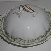 1893 Theodore Haviland Limoges Covered Butter Dish Green Scrolls Flowers Fluting Embossing Brushed Gold