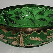 old Vintage U. S. Glass Co EAPG Delaware Emerald Green Master Berry Bowl AKA American Beauty