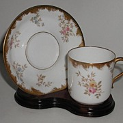 Exquisite Delinieres & Co. D & C. Limoges Demitasse Cup & Saucer Green Leaves Blue Forget Me .