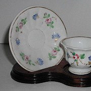 Lovely Staffordshire Creamware Petite Miniature Hand Painted Floral Demitasse Cup & Saucer ...