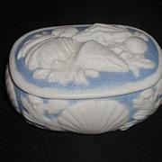Very Rare 1800s Bennington Parian Blue & White Porcelain Trinket Box Applied Sea Shells & ...