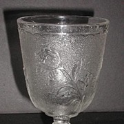 Early American Pattern Glass EAPG Water Goblet Rose In Snow Pattern