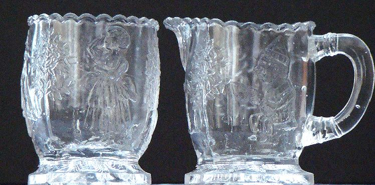 EAPG Early American Pattern Glass Relief Child Nursery Rhyme Footed Creamer And Sugar y