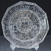 EAPG Early American Pattern Glass LR-95 10 Sided Flint Cup Plate 1800s