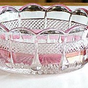 EAPG Early American Pattern Glass Virginia Banded Portland Clear With Rose Blush Finger Sauce