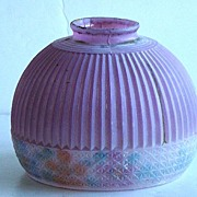 Vintage Hand Painted Ribbed Purple & Floral Ceiling Light Shade Fixture Cover