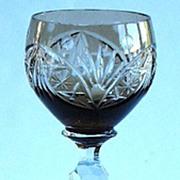 Elegant Smoked Topaz Cut To Clear Wine Stem Six Sided Zippered Stem