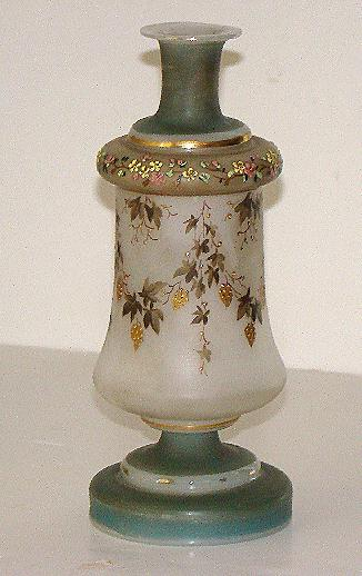Amazing Bristol Glass Vase Enameled Gold Grape Clusters Flowers