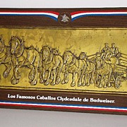 Scarce Spanish Budweiser Beer Clydesdale Horses Copper Hand Hammered Plaque