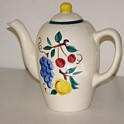 REDUCED Scarce Stangl Pottery Trenton NJ Coffee Pot Fruit Pattern Grapes Cherries Peaches