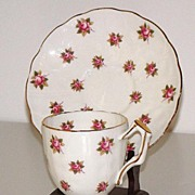 Beautiful Aynsley Pink Rose Demitasse Cup & Saucer Gold