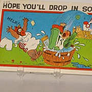 Black Americana Postcard Hope You'll Drop In Soon D. L. White