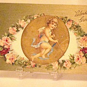 Wonderful 1908 Embossed Valentine Greeting Postcard Cupid With Bow And Arrow Inset With Pink R