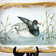 Amazing Signed Haviland Limoges Hand Painted  Duck & Marsh Rectangular Platter GOLD