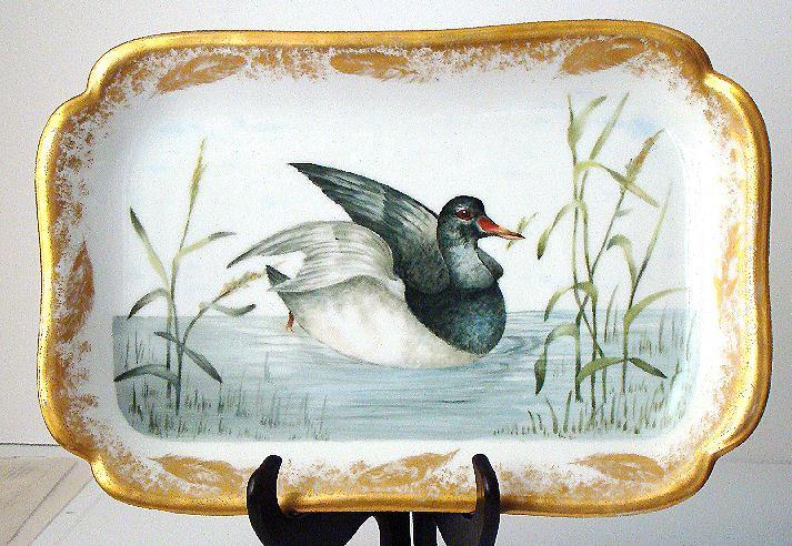 Amazing Signed Haviland Limoges Hand Painted  Duck & Marsh Rectangular Platter GOLD