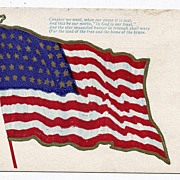 REDUCED 1907 46 Star American Flag Postcard Conquer We Must When Our Cause It Is Just