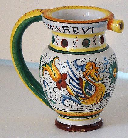 Vintage Etrusca Deruta Raffaellesco Dragon Pottery Puzzle Jug Bevi Se Puoi