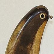 REDUCED Highly Unusual Scottish Hoof Snuff Mull Figural Bird Silver & Brass