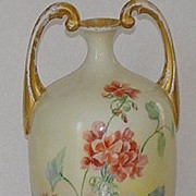 Jean Pouyat Limoges J. P. L.Handpainted Muscle Vase Pink & Red Floral