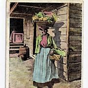 Black Americana Postcard Greeting From The Sunny South Vegetable Vender Vendor Postally Unused