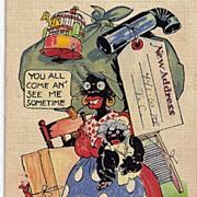 1930s Black Americana Caricature Linen Postcard Write To Me I'm On The Move