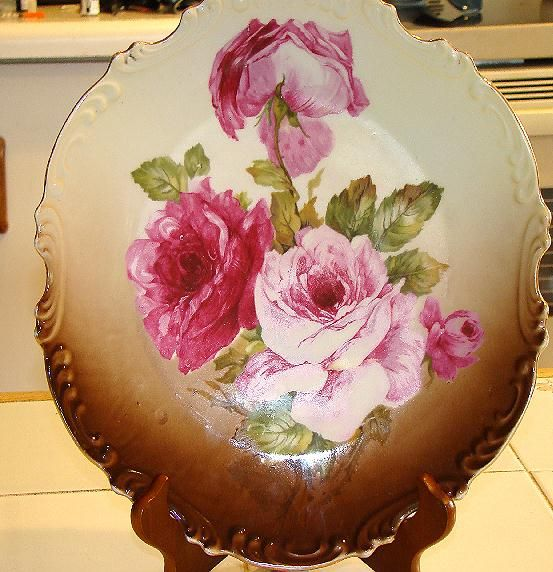 "Wonderful Z.S.& Co. Zeh Scherzer & Co. Bavaria 11.5"" Wall Hanging Charger Pink & Red Roses"