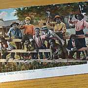 """Copyright 1896 Black Americana Postcard The Mule Race At Coonville """"Here Comes De Winner"""""""