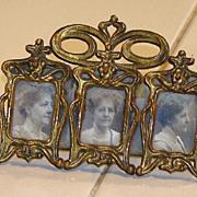 Highly Unusual Victorian Brass Miniature K & CO. (Kronheimer & Oldenbusch ) Ornate Triple Rect